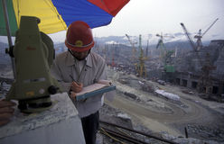 ASIA CHINA YANGZI RIVER. The constructions work at the three gorges dam project on the yangzi river in the province of hubei in china Stock Image