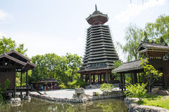 Asia Chinese, Beijing, China Minzu Yuan, architectural landscape,Drum-tower Royalty Free Stock Photo