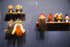 Asia Chinese, Beijing, Chinese Art Museum, indoor exhibition hall, puppet,Chinese traditional opera characters Stock Images