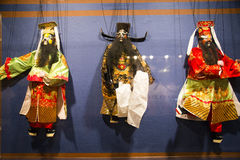 Asia Chinese, Beijing, Chinese Art Museum, indoor exhibition hall, puppet,Chinese traditional opera characters Stock Photos