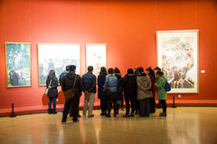 Asia Chinese, Beijing, Chinese Art Museum, indoor exhibition hall,Painting exhibition, Stock Images