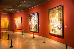 Asia Chinese, Beijing, Chinese Art Museum, indoor exhibition hall,Painting exhibition, Stock Photo