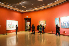 Asia Chinese, Beijing, Chinese Art Museum, indoor exhibition hall,Painting exhibition, Royalty Free Stock Photography