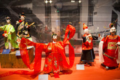 Asia Chinese, Beijing, Chinese Art Museum, indoor exhibition hall, puppet,Traditional Chinese myth figures, Royalty Free Stock Photography