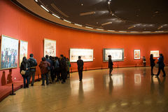 Asia Chinese, Beijing, Chinese Art Museum, indoor exhibition hall,Painting exhibition, Royalty Free Stock Images