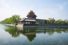 Asia Chinese, Beijing, classical architecture, the Imperial Palace watchtower Royalty Free Stock Photos