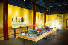 Asia Chinese, Beijing, Dazhongsi Ancient Bell Museum,Indoor exhibition showcase, temple model Stock Images