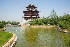 Asia Chinese, Beijing, Garden Expo, antique building, Wenchang Pavilion Royalty Free Stock Photo