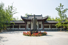 Asia Chinese, Beijing, Garden Expo, Landscape sculpture, historical celebrity, Bao Zheng Stock Photography