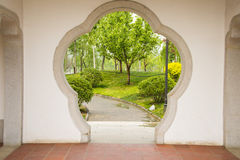 Asia, Chinese, Beijing, garden, flower shaped door Stock Photography