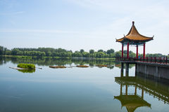 Asia Chinese, Beijing, Jianhe Park,Lakeview,red Pavilion, Stock Photos