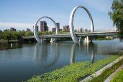Asia Chinese, Beijing, Jianhe Park, landscape architecture, railway bridge, Stock Image