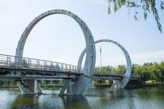 Asia Chinese, Beijing, Jianhe Park, landscape architecture, railway bridge, Royalty Free Stock Image