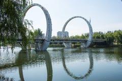 Asia Chinese, Beijing, Jianhe Park, landscape architecture, railway bridge, Royalty Free Stock Photos