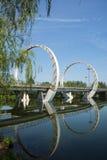 Asia Chinese, Beijing, Jianhe Park, landscape architecture, railway bridge, Royalty Free Stock Photo