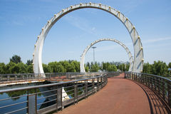 Asia Chinese, Beijing, Jianhe Park, landscape architecture, railway bridge, Stock Photography