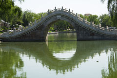 Asia, Chinese, Beijing, Longtan Lake Park, stone bridge Royalty Free Stock Photography