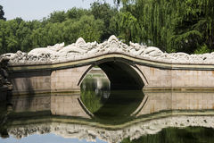 Asia, Chinese, Beijing, Longtan Lake Park, stone bridge Stock Image
