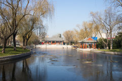 Asia Chinese, Beijing, Longtan Lake Park,Waterside pavilion Royalty Free Stock Image