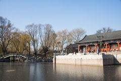 Asia Chinese, Beijing, Longtan Lake Park,Waterside pavilion Stock Photo