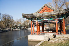 Asia Chinese, Beijing, Longtan Lake Park,Waterside pavilion Stock Photography