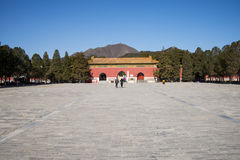 Asia Chinese, Beijing, Ming Dynasty Tombs scenic area, Dingling,Mausoleum gate. China Asia, Beijing, the Ming Dynasty Tombs scenic area, Chinese Wanli of the Royalty Free Stock Photo