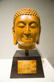 Asia Chinese, Beijing, National Museum, Contemporary Art Biennale,Gold-rimmed nanmu, Buddha head Stock Photo