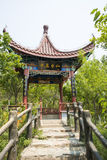 Asia Chinese, Beijing, North Palace, Forest Park, Garden building, pavilion, wooden railings Royalty Free Stock Photos