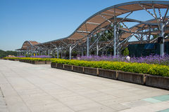 Asia Chinese, Beijing, Olympic Forest Park, flower beds, Pavilion Stock Image