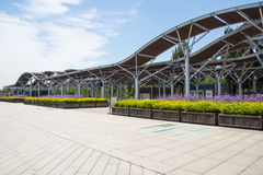 Asia Chinese, Beijing, Olympic Forest Park, flower beds, Pavilion Royalty Free Stock Photo