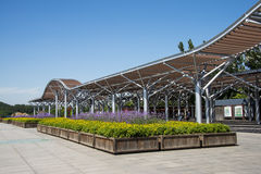 Asia Chinese, Beijing, Olympic Forest Park, flower beds, Pavilion Stock Photos