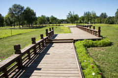 Asia Chinese, Beijing, the Olympic Forest Park, the wooden sidewalk Royalty Free Stock Photos