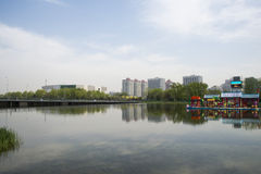 Asia Chinese, Beijing, Olympic Park, lake, landscape, Royalty Free Stock Images