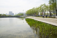 Asia Chinese, Beijing, Olympic Park, lake, landscape, Stock Photo