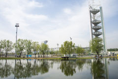 Asia Chinese, Beijing, Olympic Park, lake, landscape, Linglong tower Royalty Free Stock Photos