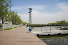 Asia Chinese, Beijing, Olympic Park, the lake and the watchtower. Royalty Free Stock Photo
