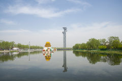 Asia Chinese, Beijing, Olympic Park, the lake and the watchtower. Stock Image