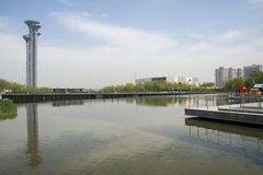 Asia Chinese, Beijing, Olympic Park, the lake and the watchtower. Royalty Free Stock Image