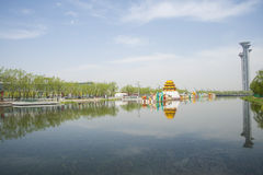 Asia Chinese, Beijing, Olympic Park, the lake and the watchtower. Stock Photography