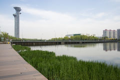 Asia Chinese, Beijing, Olympic Park, the lake and the watchtower. Royalty Free Stock Photos