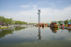 Asia Chinese, Beijing, Olympic Park, the lake and the watchtower. Stock Images