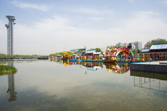 Asia Chinese, Beijing, Olympic Park, the lake and The watchtower Royalty Free Stock Image