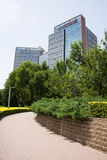 Asia Chinese, Beijing, Park,modern building. Asia China, Beijing, Madian park green, the surrounding modern buildings stock photos