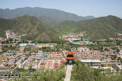 Asia Chinese, Beijing, The pavilion Qipanshan scenic area, houses, Stock Images