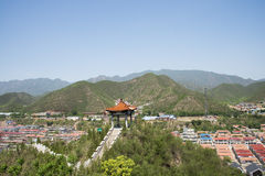 Asia Chinese, Beijing, The pavilion Qipanshan scenic area, houses, Royalty Free Stock Image