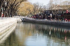 Asia Chinese, Beijing, Shichahai scenic area, Stone bridge, stone railings Royalty Free Stock Photo