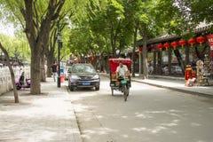 Asia Chinese, Beijing, Shichahai scenic,Rickshaw Stock Photo