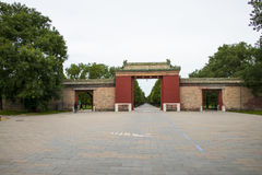 Asia Chinese, Beijing, Tiantan Park, garden building,  door, Stock Photography