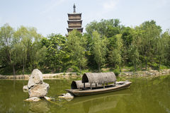 Asia Chinese, Beijing, Yu Garden,Classical garden architecture,Wenfeng tower,The boat Royalty Free Stock Photos