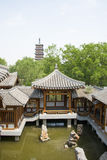 Asia Chinese, Beijing, Yu Garden,Classical garden architecture,Wenfeng tower, Pavilions, terraces and open halls Royalty Free Stock Photos